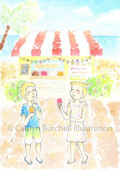 Beach Days - Art prints by Caitlyn Burchell Illustration Beach Day, Watercolor Paintings, To My Daughter, Colour, Art Prints, My Favorite Things, Illustration, Pictures, Color