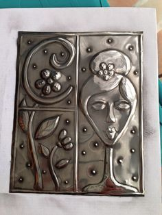 Pewter face on journal Pewter Art, Pewter Metal, Copper Metal, Metal Projects, Metal Crafts, Aluminum Foil Crafts, Tin Foil Art, Metal Worx, Embossing Techniques