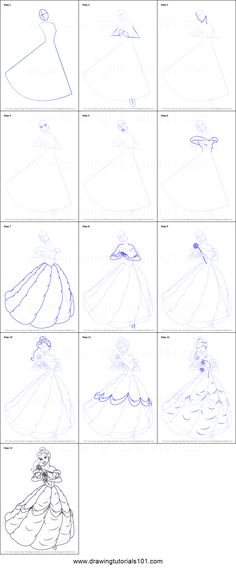 How to Draw Belle from Beauty and the Beast Printable Drawing Sheet by DrawingTutorials101.com