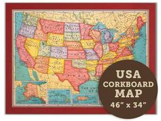 Prepare yourself to get inspired about travel with our huge cork board map of the World. Use to plan your next vacation or to pin where you have traveled.