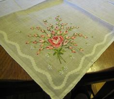 Vintage Petit Point Hankie Embroidered Roses Handkerchief with Tag Perfect | eBay