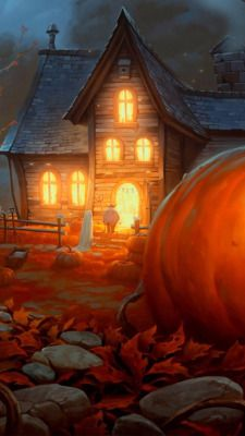Only Trick or Treat at Houses with the Lights on on Halloween Night 👻 Even if there's a giant pumpkin outside sitting on Fall / Autumn leaves welcoming you in 🎃 Halloween Artwork, Halloween Pictures, Halloween Wallpaper, Halloween House, Halloween Night, Halloween Cards, Holidays Halloween, Spooky Halloween, Halloween Themes