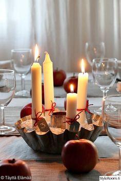 joulukattaus,joulu,adventtikynttelikkö,adventtikynttilät Candels, White Christmas, Tea Lights, Advent, Christmas Decorations, Candles, Lights, Red, Working Holidays