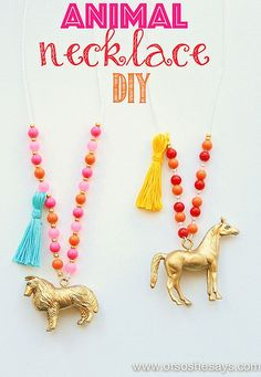 How adorable is this?!? Animal Necklaces - A Great Craft for the Kids (she: Sierra)