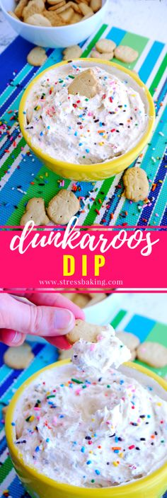 Dunkaroos Dip: A homemade version of the classic childhood treat. Easy, 3-ingredient funfetti flavored dip that's perfect for animal cracker dunking, and loaded with sprinkles!
