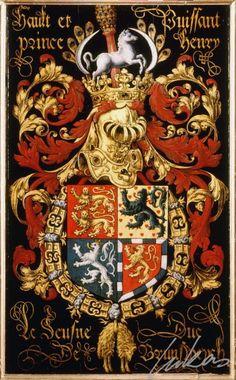 """(214) Henri de BRUNSWICK et Lunebourg (1489-1568) -- """"Hault et puissant prince Henry le Jeusne duc de Brunsweych"""" -- Armorial plate from the Order of the Golden Fleece, 1559, Saint Bavo Cathedral, Gent"""