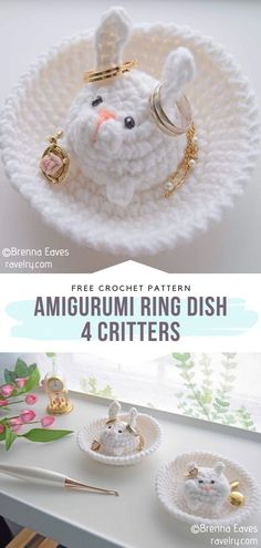 Amigurumi Ring Dish – 4 Critters Free Crochet Pattern Adorable and practical! This ring dish will look beautiful on your bedside table, without a doubt. If you have a friend's birthday on the horizon, this is the gift idea you were looking for! Crochet Ring Patterns, Crochet Rings, Crochet Amigurumi Free Patterns, Baby Girl Crochet, Crochet Bunny, Cute Crochet, Crochet Dolls, Embroidery Designs, Crochet Christmas Gifts