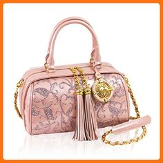 Valentino Orlandi Italian Designer Pearlescent Rose Embroidered Leather Handbag - Crossbody bags (*Amazon Partner-Link)