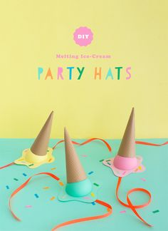 DIY Melting Ice-Cream Party Hats | Oh Happy Day! | Bloglovin'