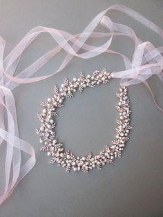 Rose gold Bridal belt Swarovski crystal and pearl belt Wedding Sash Belt, Wedding Belts, Rhinestone Wedding, Gold Wedding, Wedding Hair, Bridal Hair, Wedding Rings, Jewelry Design Earrings, Hair Jewelry
