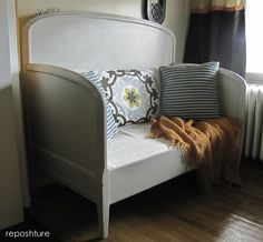 Reposhture Studio: My Frenchy Bench,   Double bed remade into reading bed. Takes a standard size crib mattress so no special cushions need to be made and can cover in crib sheets!