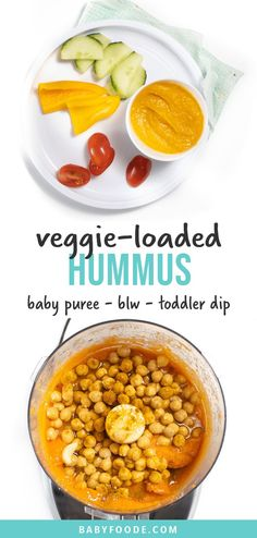 This Veggie-Loaded Hummus Baby Food or Toddler Dip is an amazing recipe that gross with your baby! You can serve as a puree to baby or use it as a dip for baby-led weaning or for your toddler. Made with carrots, sweet potatoes and chickpeas, this recipe is so good that you will want to eat it yourself! #babyfood #babyledweaning #fingerfoods #toddlersnack #toddlerlunch #veggieloaded Baby Puree Recipes, Baby Food Recipes, Vegan Recipes, Cooking Recipes, Toddler Recipes, Healthy Store Bought Snacks, Baby Led Weaning Breakfast, Toddler Lunches, Toddler Food