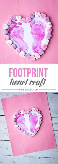This footprint heart craft is SO CUTE! This is such a nice idea for Valentine& Day or Mother& day as a gift or can be framed. This footprint heart craft is SO CUTE! This is such a nice idea for Valentines Day or Mothers day as a gift or can be framed. Valentine's Day Crafts For Kids, Valentine Crafts For Kids, Daycare Crafts, Mothers Day Crafts, Valentine Day Crafts, Baby Crafts, Cute Crafts, Diy For Kids, Holiday Crafts