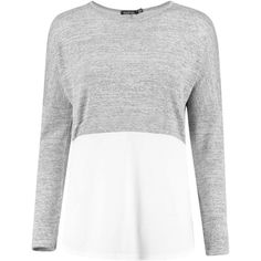 Boohoo Rosie Oversized Long Sleeve Knitted Panel T-Shirt ($24) ❤ liked on Polyvore featuring tops, t-shirts, long-sleeve crop tops, long sleeve layering tee, white t shirt, oversized t shirt and basic white tee