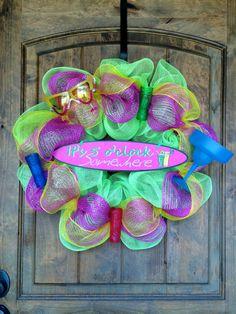 Deco Mesh It's 5 o'clock Somewhere Wreath Summer, Shot glasses, Tiki, Margarita #BayouBurlapandBling