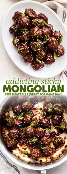 Sticky Mongolian Beef Meatballs – Turn your favorite Asian take out into meatballs! These meatballs are made with ground beef and are tender to the core. Toss them in a sweet, savory, and sticky glaze and watch the crowd gobble them up for game day! Meat Recipes, Asian Recipes, Cooking Recipes, Easy Beef Recipes, Recipies, Healthy Recipes, Healthy Nutrition, Healthy Desserts, Drink Recipes
