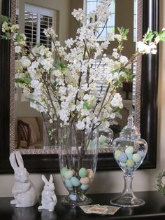 Decorating for Easter (Part I) : I started pulling out my Easter decorations this week. I always look forward to decorating for Spring and the Easter holiday! As you will see, I am a big fan of apothecary jars and use them for m… Easter Buffet, Easter Table Decorations, Easter Decor, Spring Decorations, Easter Ideas, Easter Centerpiece, Easter Table Settings, Deco Boheme, Spring Home Decor