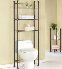 This Over the Toilet Space Saver offers functional and attractive storage space for any household bathroom.