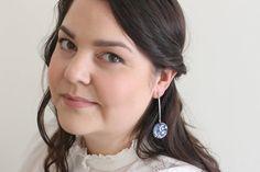 Blue modern minimalist earrings white flower pattern | Etsy Gifts For Nature Lovers, Leaf Pendant, Beautiful Gift Boxes, Minimalist Earrings, Polymer Clay Earrings, Modern Jewelry, Modern Minimalist, Photo Jewelry, Flower Patterns