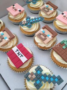Minecraft themed birthday cupcakes.