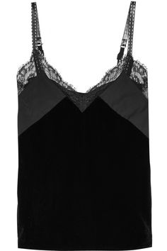 Maje Lace and mesh-trimmed velvet camisole.