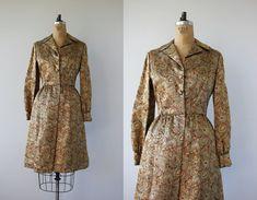 vintage 1960s dress / 60s gold metallic dress / 60s gold lurex dress / 60s shirt waist dress / 60s party dress / large