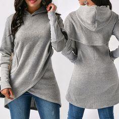 Buy Women Hooded Sweatshirt Autumn Winter Women Hoodies Casual Irregular Tops Fashion Front Cross Sweater at Wish - Shopping Made Fun Plain Hoodies, Mode Hijab, Swagg, Shirt Blouses, Hooded Sweatshirts, Fashion Outfits, Fashion Top, Cheap Fashion, Fashion Women
