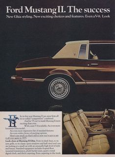 1975 Ford Mustang II Ghia Car Photo Ad Vintage by AdVintageCom