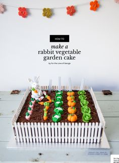Imagine this as an Easter centrepiece! Tutorial and recipe : How to make a Rabbit Vegetable Garden Cake (great for Peter Rabbit fans!), by For the Love of George Peter Rabbit Party, Peter Rabbit Cake, Peter Rabbit Birthday, Bunny Birthday, Easter Cake Tutorials, Cake Decorating Tutorials, Fondant Rabbit, Vegetable Garden Cake, Themed Cakes
