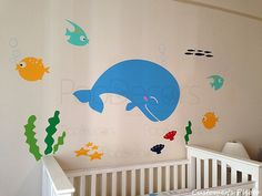 Nursery Whale Decal Fish Stickers Ocean Baby Wall by PopDecors, $42.00