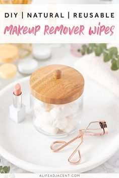 Learn how to make the best DIY makeup remover wipes with natural ingredients! Remove your makeup and cleanse your face in one simple step with this easy recipe. These wipes are perfect for travel, the gym, or keeping at your bedside. They're made without coconut oil and contain no essential oils or baby shampoo. Make them reusable or disposable – your choice. #zerowaste #alifeadjacent #ecofriendly #diyskincare