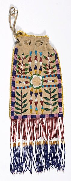 Apache (Arizona), Beaded Bag, beads/leather, c. 1910.