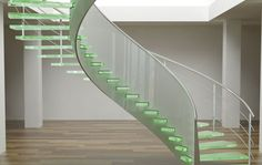 curved frosted staircase with floating green glass steps