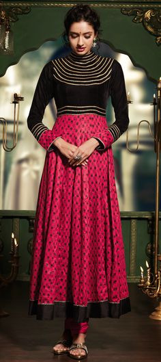 419498: ARMOR CHEST EMBROIDERY- this #anarkali has a story to tell.   #OnlineShopping #Partywear #Fashion #Women #IndianWedding #Prettyinpink
