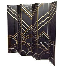1930s Art Deco Six-Panel Folding Screen in the Style of Donald Deskey | From a unique collection of antique and modern screens at https://www.1stdibs.com/furniture/more-furniture-collectibles/screens/