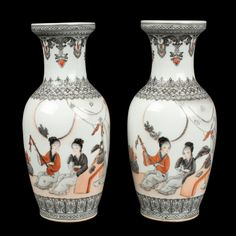 China 20. Jh. A Pair Of Chinese Porcelain Vases - Chinois Cinese Jarrones Chinos