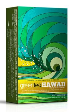 This colorful packaging would definitely stand out on a shelf — GreenTeaHawaii