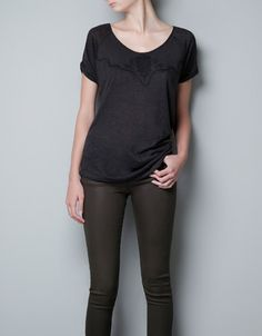 SKULL EMBROIDERY LINEN T-SHIRT - T-shirts - Woman - ZARA United States