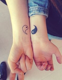 101 Best Friend Tattoos | InkDoneRight.com There are several different kinds of Best Friend Tattoos. Some of them are matching, some contrast, while others are two parts of a whole! See 101 Designs! #Tattoos #InkDoneRight