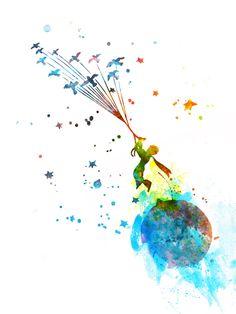 Little Prince 2 Watercolor Art Print Little Prince Tattoo, The Little Prince, Prince Tattoos, Watercolor Quote, Tattoo Watercolor, Floral Watercolor, Harry Potter Tattoos, Childrens Room Decor, Cute Illustration