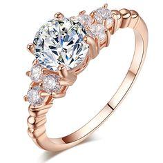 TUKER Fashion Zirconia Wedding Engagement Rings For Women white Gold Plated Fashion Jewelry Female Ring Bijoux  Wholesale.$1.80