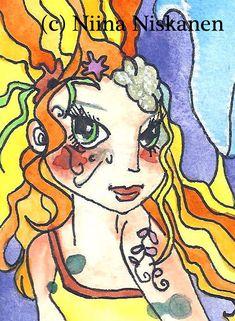 Mer-Leo - ACEO Art Print - Mermaid Zodiac - Fantasy Art - by Niina Niskanen