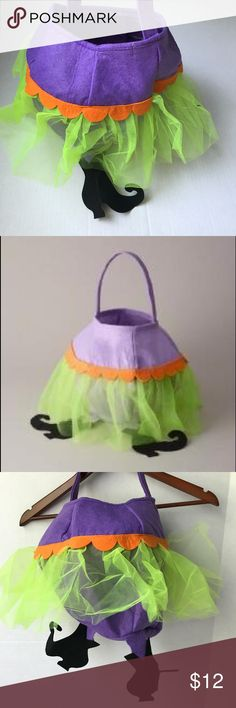 Wickedly cute treat bag for your little witch! NEW This is my favorite! Felt treat bag with tulle skirt and witches feet!  New in bag! Costumes Halloween