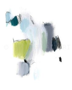 "#Abstract Painting. Original art. Grey Green Blue Pastels, 8x10"".Gift for her, expressionist painting"