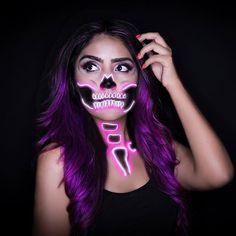 Neon skull makeup #neonskull