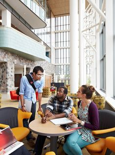 Libraries are becoming the academic heart of the campus, supporting social connections, collaborative needs and team projects. These spaces should be a place where traditional and new knowledge resources converge. Library spotlight: Grand Valley State University in Allendale, Michigan.
