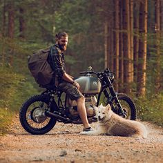 All you need in life: a classic BMW motorcycle, a pack big enough to hold your worldly belongings, and a best friend.