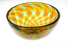 Gold and Green Reticello Bowl ~ Hand Blown by Dylan Brams of ClassicalTwistGlass, $300.00  Photograph by Charlotte Marie Wood