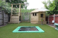 Sunken Trampoline - Fun Stuff and Gallery Sunken Trampoline, Backyard Trampoline, Backyard Bbq, Backyard Ideas, Side Garden, Garden Beds, Deck Balusters, Plastic Bottle Planter, Trampolines