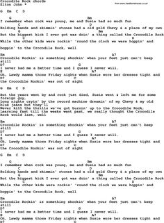 Song Lyrics with guitar chords for Crocodile Rock